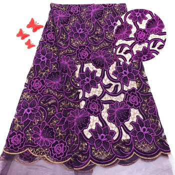 New Africa Lace Fabric High Quality Embroidered with velvet Lace With Sequins Fabric Nigeria Mesh Fabric Used for party dresses
