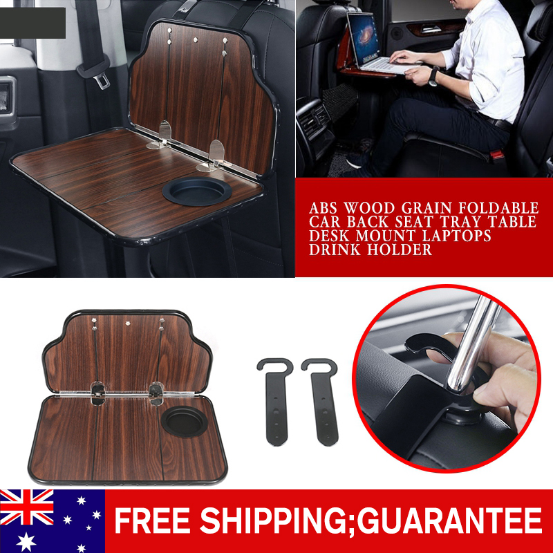 pcmos ABS Wood Grain Foldable Car Back Seat Tray Table Desk Mount Laptops Drink Holder Interior Accessories Ornament For Working