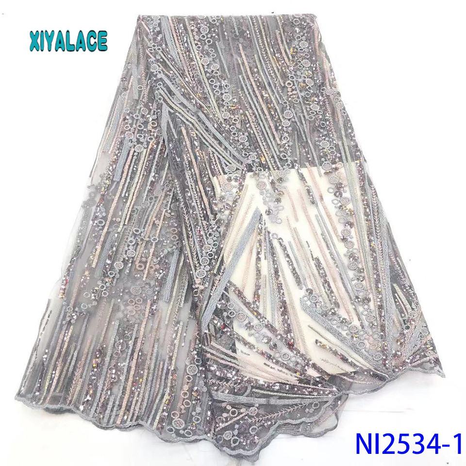 African Lace Fabric Nigerian Latest 2019 High Quality Lace Sequins French Lace Fabric Bridal Lace For Party Dress YANI2534B-1