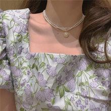 2021 novo vintage mini pérola gargantilha colar para mulheres camadas duplas elegante simples moda colares jóias presentes