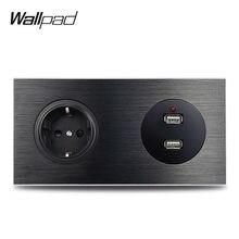 Wallpad-enchufe de pared de la Unión Europea, puerto de carga USB L6, aluminio cepillado negro, Metal satinado, 172x86mm