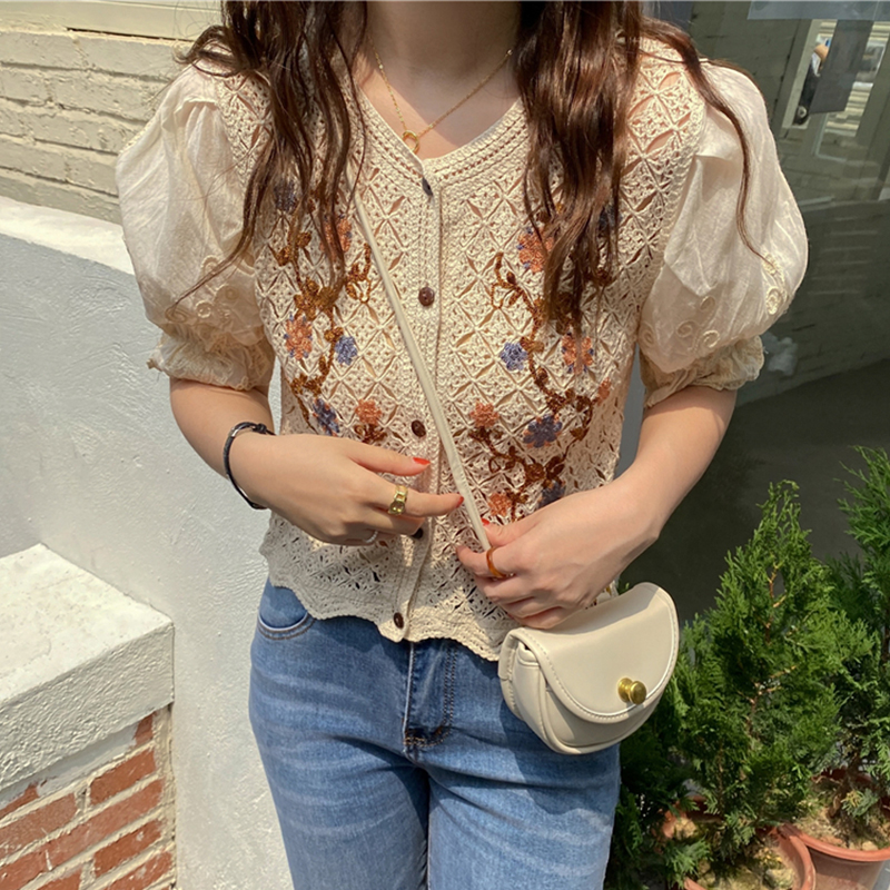 Vintage Floral Embroidery Blouses Women 2021 Summer Short Shirts Chic Hollow Out Crochet Puff Sleeve Blusas Tops Camisas Mujer Women Women's Blouses Women's Clothings