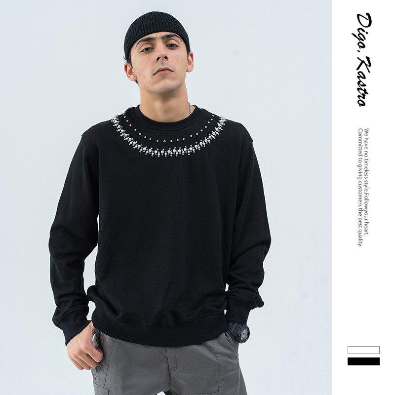 2019 Street Fashion Tide Brand Pullover Men/Women Handmade Beaded Decorative Sweatshirt Streetwear Original Couple Hoodies