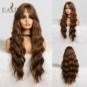 Image 1 - EASIHAIR Long Brown Body Wavy Synthetic Wigs With Bangs High Density Wigs for Women Cosplay Wigs Heat Resistant Hair Wig