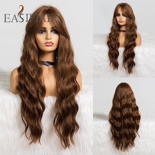 EASIHAIR Long Brown Body Wavy Synthetic Wigs With Bangs High Density Wigs for Women Cosplay Wigs Heat Resistant Hair Wig