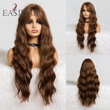 EASIHAIR pelucas sintéticas onduladas para mujer cabello largo de cuerpo marrón con flequillo de alta densidad, Cosplay, resistente al calor