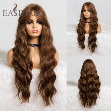 Easihair longo marrom corpo ondulado perucas sintéticas com franja perucas de alta densidade para perucas cosplay feminino resistente ao calor peruca de cabelo
