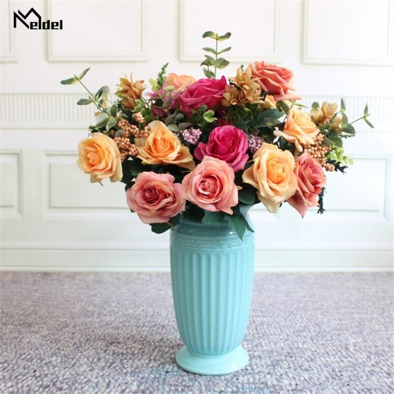 Meldel Artificial Flower Wedding Bouquet Bridal Bouquet Holder Blue Silk Rose Wedding Bouquets For Bridesmaids Bouquet Mariage