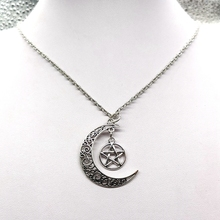 Pentagram Crescent Moon Leather Necklace, Celestial Necklace,Silver and Star Necklace,Pagan Necklace,Wiccan Necklace,Choker