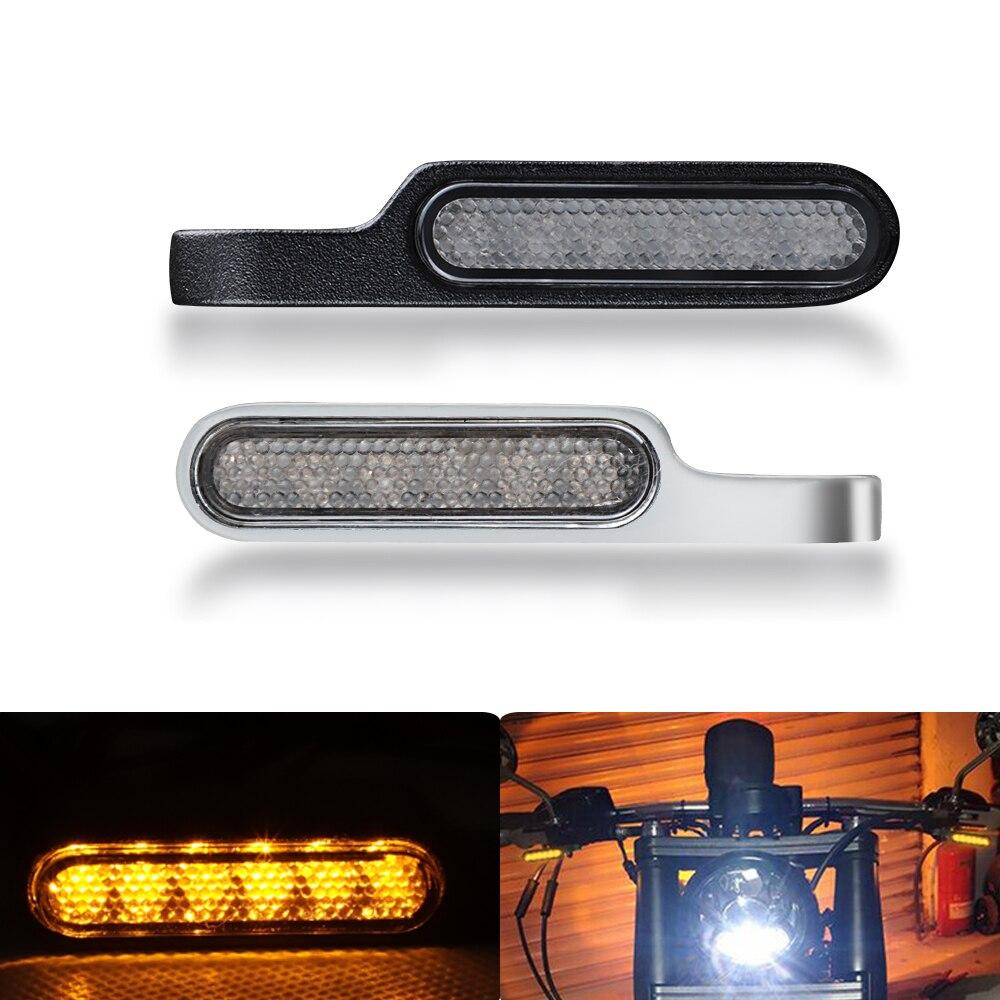 2 sztuk motocykl lampka sygnalizacyjna wskaźniki Amber Mini światło kierunkowskazu LED kierownica migacz dla Cafe Racer skuter Motobike DC 12V