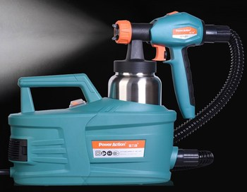 High-pressure electric spray gun latex paint oil flow control air removal of formaldehyde