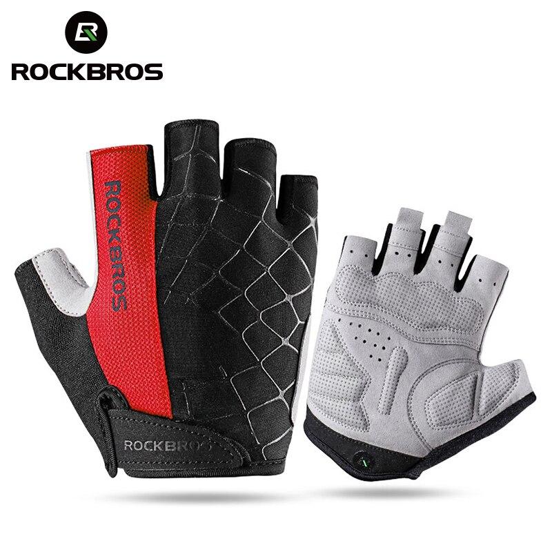 Guantes de ciclismo ROCKBROS medio dedo a prueba de golpes resistente al desgaste transpirable MTB guantes de bicicleta de carretera hombres mujeres deportes equipo de bicicleta