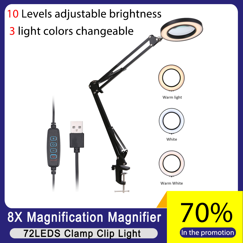 KKMOON Lighting 8X Magnifying Glass USB 72 LED Table Lamp for Soldering Iron Repair/Skincare Beauty Tool with 3 Modes Dimmable