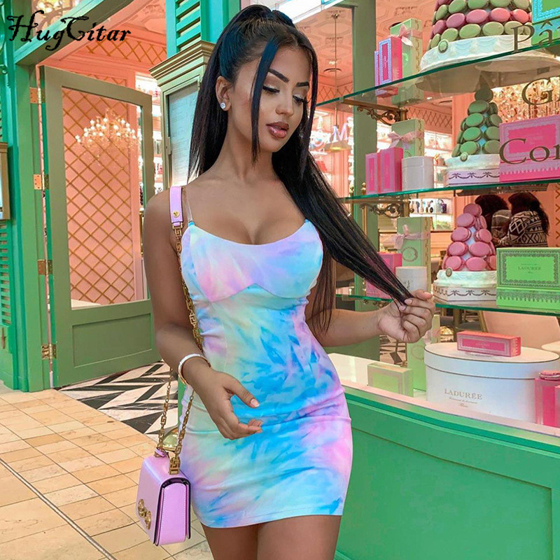 Hugcitar 2020 sleeveless tie dye patchwork sexy mini dress summer women fashion streetwear outfits sundress