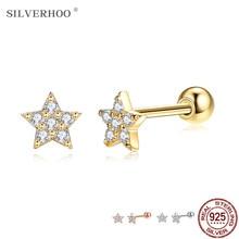 Silverhoo genuíno 925 prata esterlina brilhante estrela brincos para as mulheres na moda zircônia cúbica minúsculo brinco prata 925 jóias