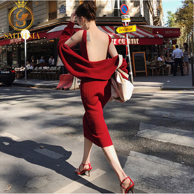 2019 New Winter Women's Simple Long Sleeve Knitted Cardigan Coat + Sweater Dress Two-piece Female Sexy Backless Dress Suit