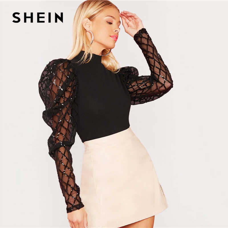 SHEIN Black Stand Collar Contrast Mesh Sequin Elegant Top Women Autumn Leg-Of-Mutton Sleeve Form Fitted Glamorous T-shirts