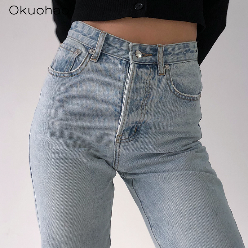 2020 High Waist Loose Comfortable Jeans For Women Plus Size Fashionable Casual Straight Pants Mom Jeans Washed Boyfriend Jeans 5