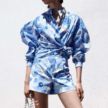 Za suit 2-piece suit new printed women Suits & shorts suits 2021 summer fashion chic pure cotton youth street women suit 1