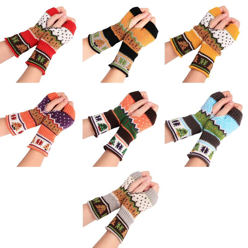 Christmas Tree Pattern Gloves Winter New Women Girls Knitted Half Finger Mittens