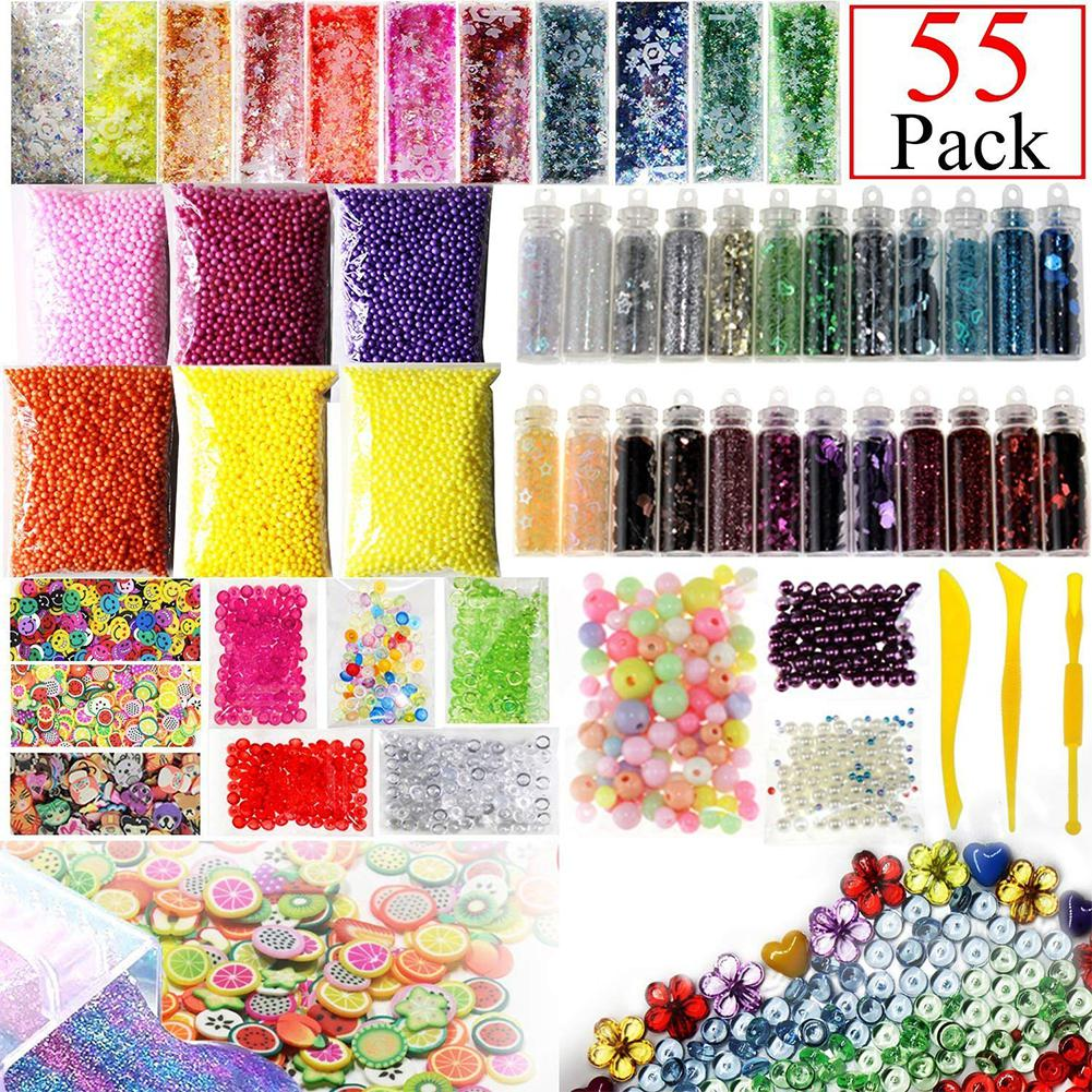55 Packs Slime Supplies Kit Include Fishbowl Beads Foam Balls Glitter Jars Fruit Flower Animal Slices Pearls Slime Tools