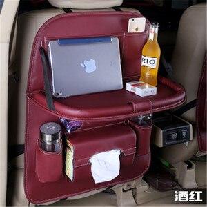 Image 5 - 50*65CM 자동차 뒷좌석 보관 가방 주최자 멀티 포켓 테이블 트레이 패드 전화 컵 티슈 음료 우산 홀더 박스 접이식 선반