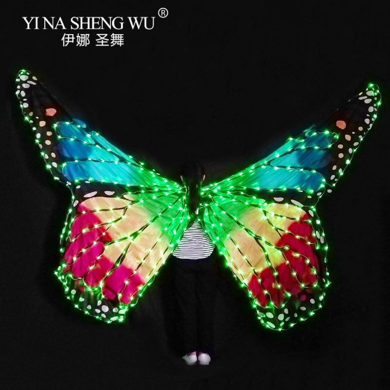 Women Belly Dance LED Wings Dance Girl Wing Butterfly Halloween LED Butterfly Cloak Stage Dance Performance Accessories LED Wing