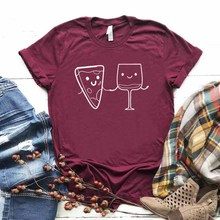 pizza and wine Print Women tshirt Cotton Casual Funny t shirt For Yong Lady Girl