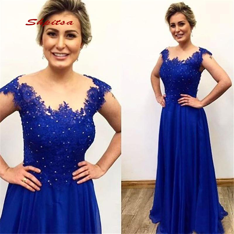 Royal Blue Mother Of The Bride Dresses For Wedding Party Plus Size Women Evening Groom Dinner Dresses