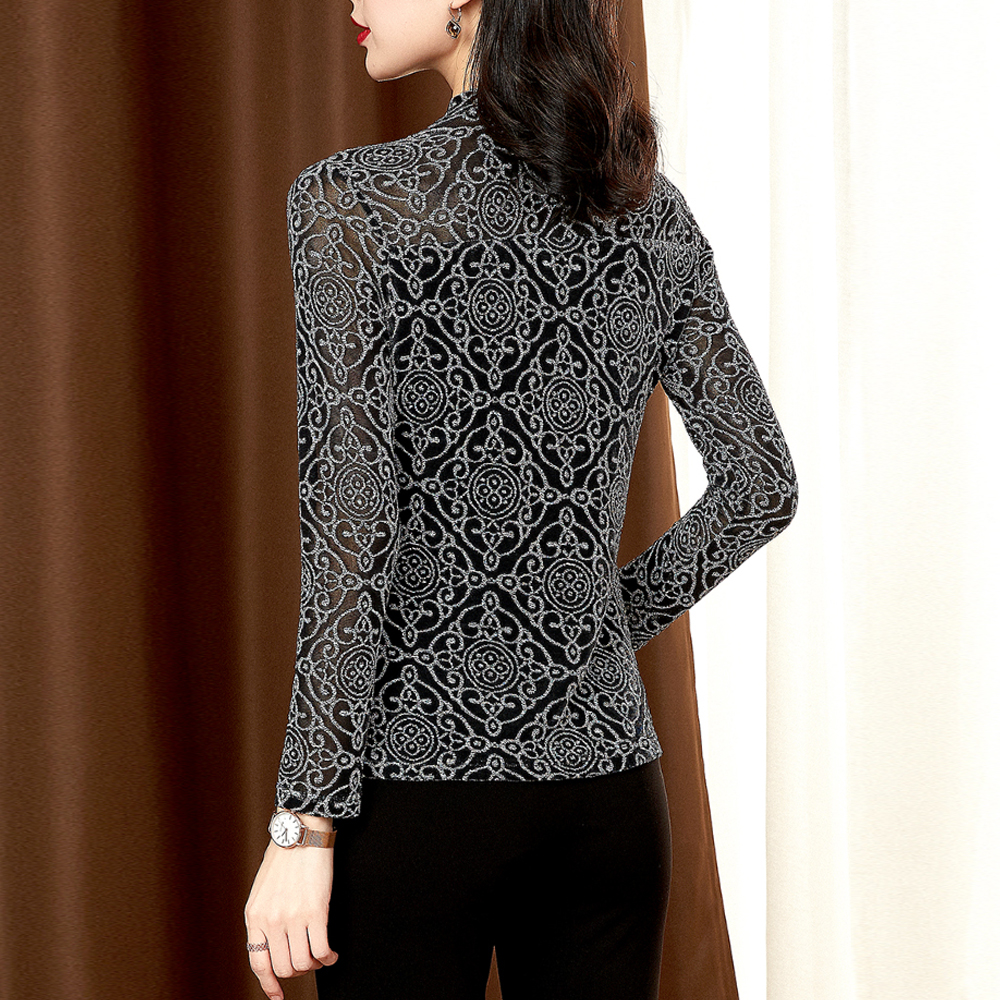Mesh Hollow Out Bottoming Shirts Women Long-sleeved O-Neck 2020 Spring Summer New Tops Bright Silk Bronzing Slim Stretch Shirt