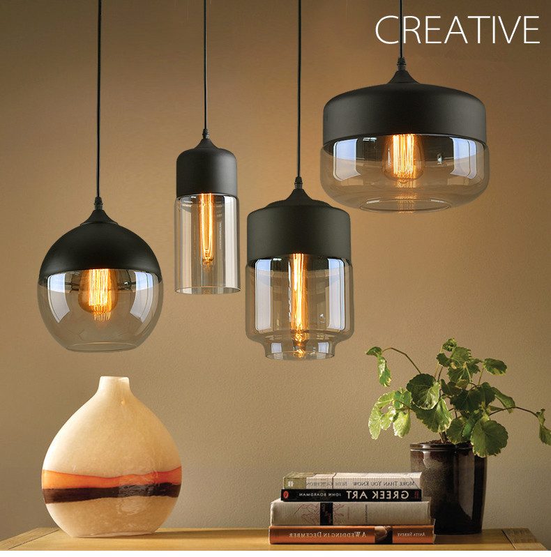 Modern Simple Metal Industrial Glass Pendant Light Loft Bar Counter Dining Room Personality Creative Glass Ceiling Hanging Lamp
