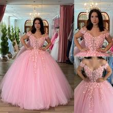 Ball-Gown Quinceanera-Dress Flowers You-Off-The-Shoulder Formal Pink Lace Appliques Beside