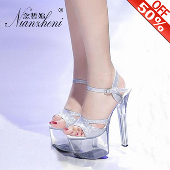 17cm Sexy High-heeled Shoes Crystal Sandals 7 Inch Stiletto High Heels Clear Platforms Silver Glitter Wedding Pole Dancing Shoes
