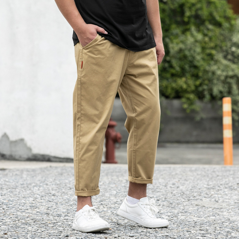 Summer MEN'S Wear Large Size Pure Cotton Casual Pants Men Fashion Large Size Loose-Fit Solid Color Capri Pants Men's Trousers