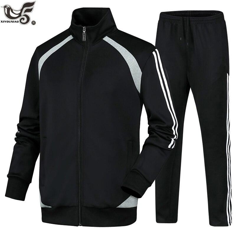 New Men's Sports Suit Autumn Winter SportsWear Sets 2 Pieces Jacket + Pants Male Brand Clothing Full Suit Tracksuit Men