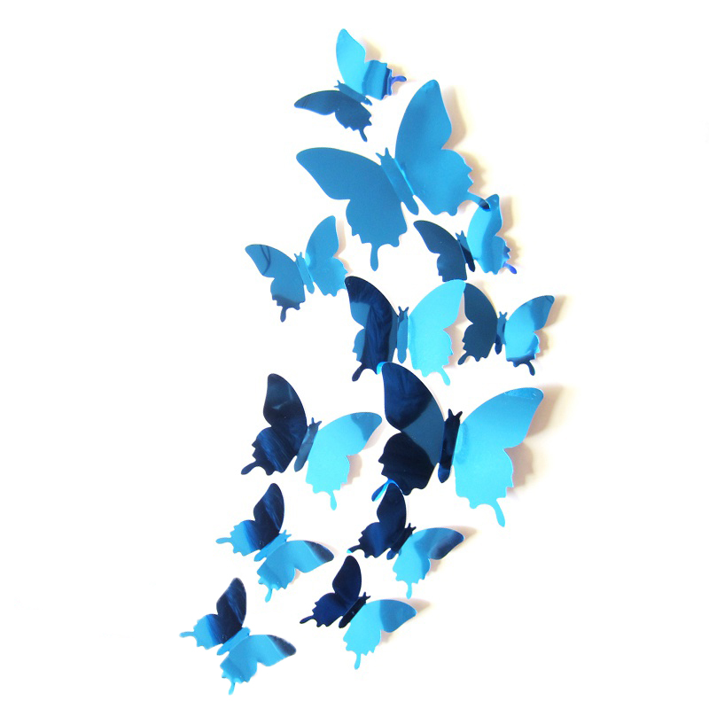 12pcs 3D Mirrors Butterfly Wall Stickers Decal Wall Art Removable Room  Party Wedding Decor Home Deco Wall Sticker for Kids Room 4