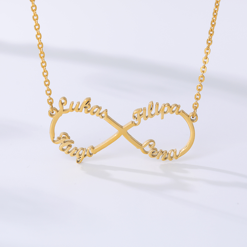 Customized Stainless Steel Infinity Name Necklace Boho Jewelry Personalized Heart Infinity Necklace Bridesmaid Gifts 5