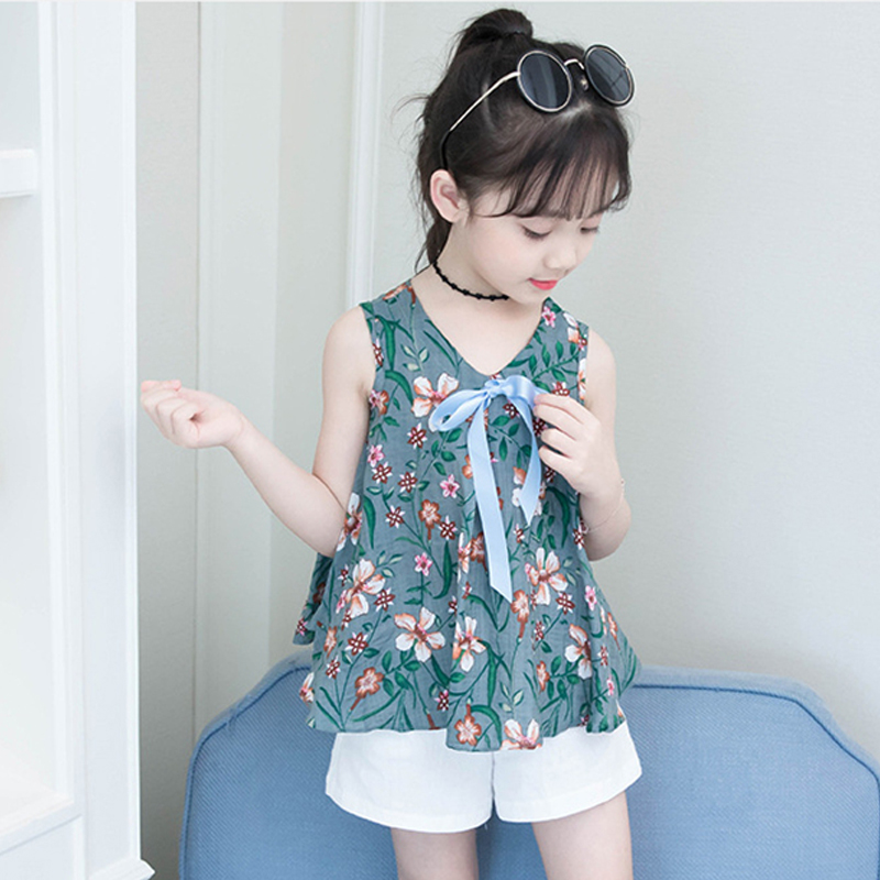 Summer Girl Dress Children Cotton Sleeveless Dresses Flowers Print Kids Dress for Girls