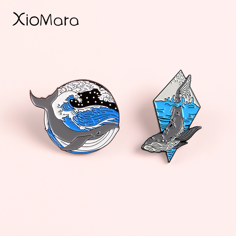 Humpback <font><b>Whale</b></font> Enamel Pin Breaching Leaping <font><b>Whale</b></font> Ocean jewelry Blue Sea wave Spindrift Nature Brooches Lapel Pins For Gifts image