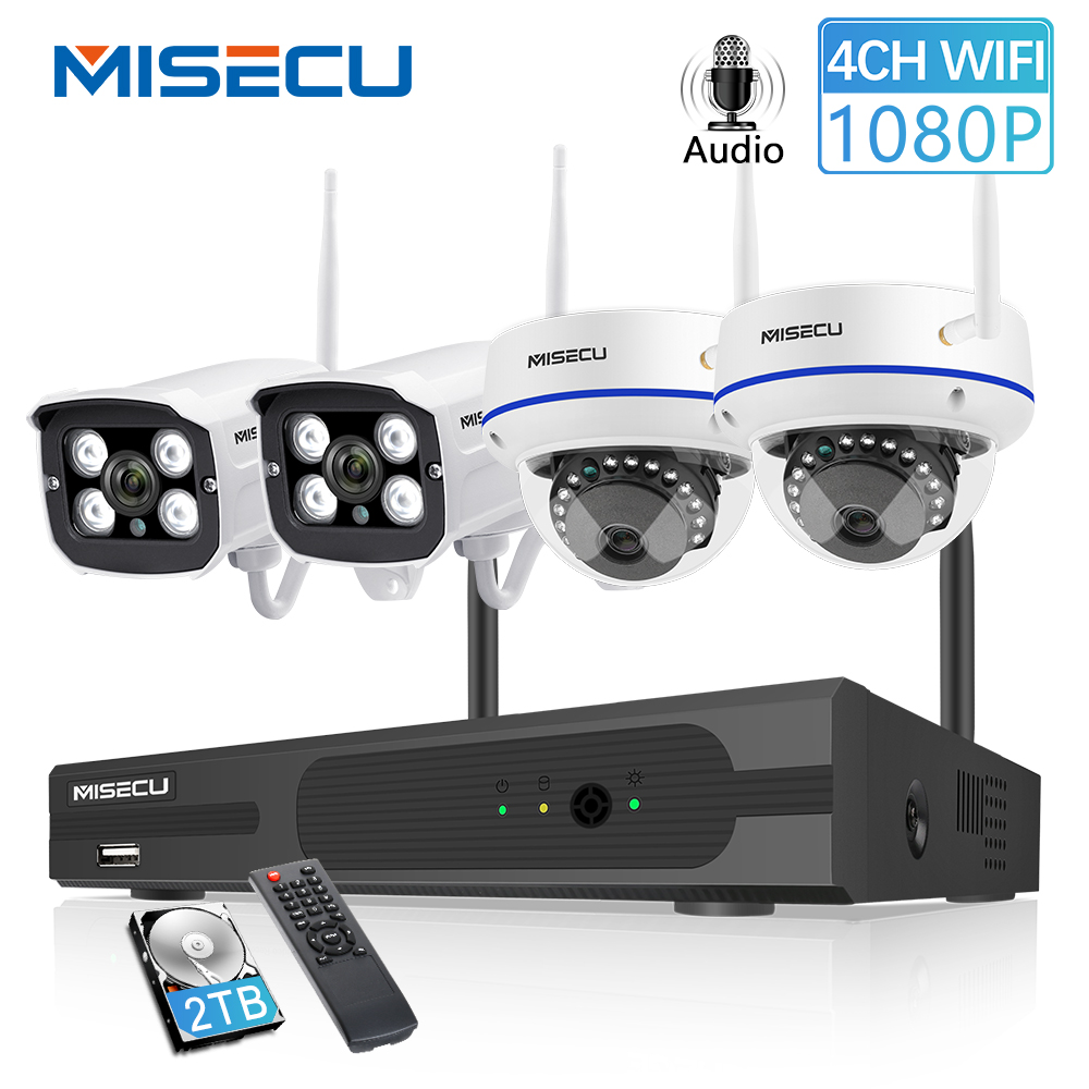 MISECU  4CH 1080P Wireless CCTV System 2MP IP Camera Audio Waterproof  Outdoor Indoor  WIFI Camera System Video Surveillance Kit