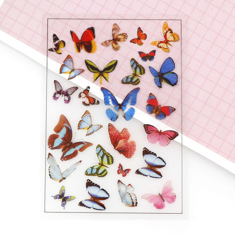 5pc Translucent Floral Tier Harz Epoxy Handwerk Füllstoff Aufkleber UV Harz Form Fisch Schmetterling blätter Schmuck Machen Einreichung