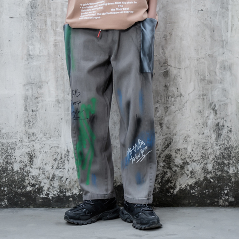 Aolamegs Pants Men Color Block Patch Graffiti Joggers Sweatpants Casual Hip Hop Style Trousers Harajuku Fashion Youth Streetwear