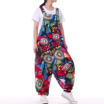 Plus Size ZANZEA Summer Overalls Women Vintage Sleeveless Floral Printed Harem Jumpsuits Rompers Pants Femme Playsuits Dungarees 4