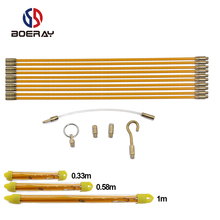 10pcs/set 33/58/100cm Diameter 4mm Fiberglass Wire Cable Running Rods Fish Pulling Wire Holder Kit Electrical Wires With Hooks