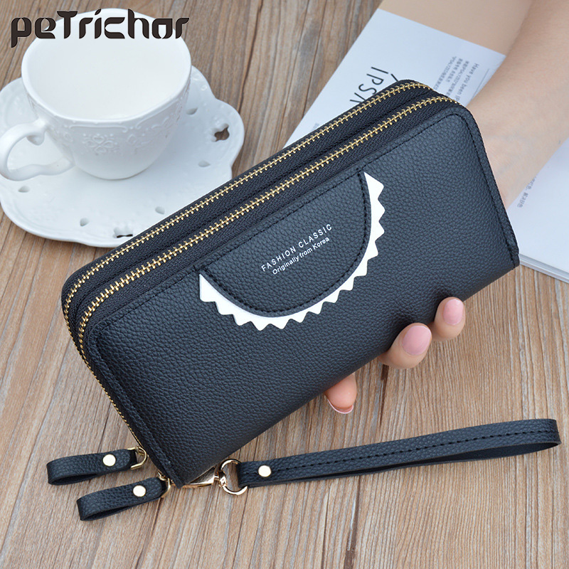Women Leather Wallet Long Clutch Wallets Money Phone Pocket Double Zipper Wallets Female Large Capacity Card Holder Brand Purse