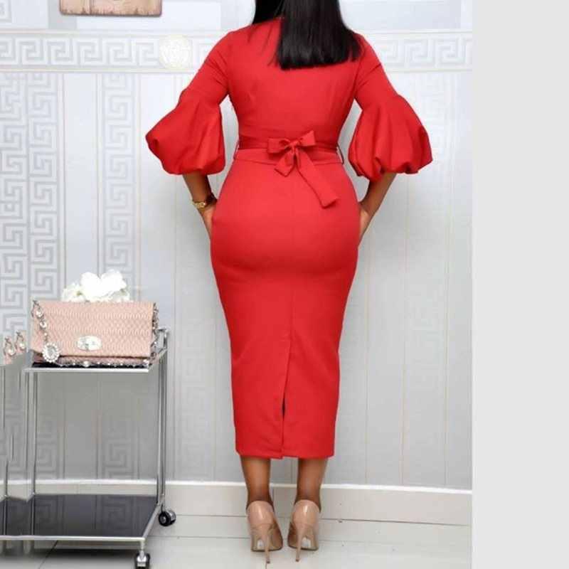 Красные вечерние платья бодикон, женские платья миди на шнуровке с латернским рукавом, платье 2019, Осеннее сексуальное платье с v-образным вырезом, платье для вечернего клуба в африканском стиле
