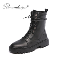 BIMUDUIYU Autumn New Black Motorcycle Boots For Women Round Toe Ankle Genuine Leather Thick Heel Ladies Winter Shoes