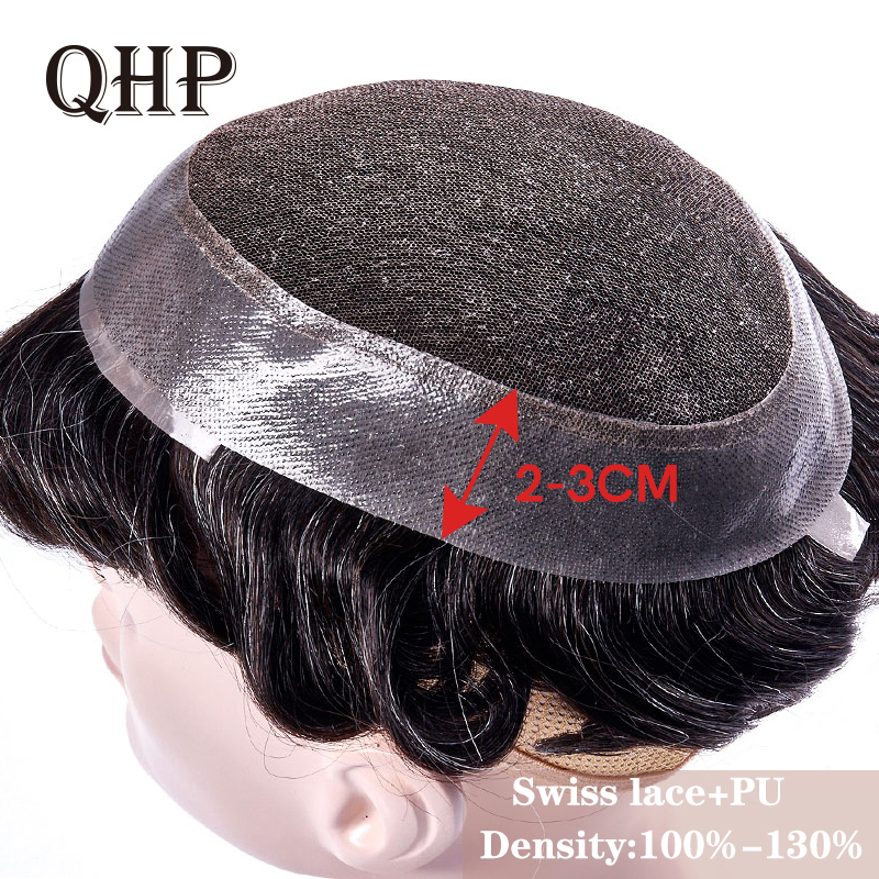 Mens Toupee Swiss Lace And PU Hair Replacement Systems Handmade  Wig Natural Remy  6inch Indian Human Hair For Men