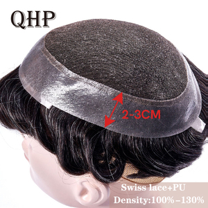 Mens Toupee Swiss Lace and PU Hair Replacement Systems Handmade Wig Natural Remy 6inch Indian Human Hair For Men(China)