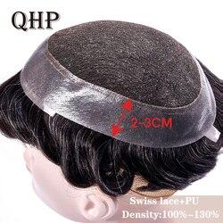 Tupé para hombre, sistemas de repuesto de encaje suizo y PU, peluca de cabello artesanal Natural Remy de 6 pulgadas, cabello humano indio para hombres